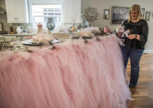 Pink Tulle Counter Skirt